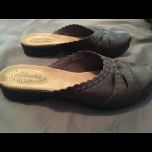 Clarks leather slip on shoes